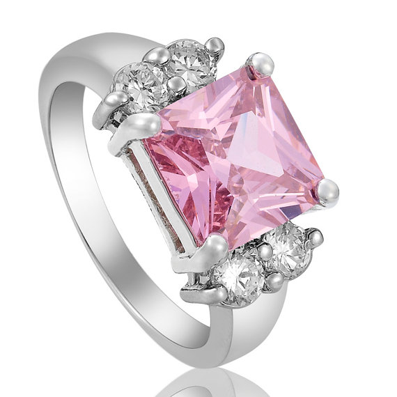 other rings princess cut pink sapphire cubic zirconia