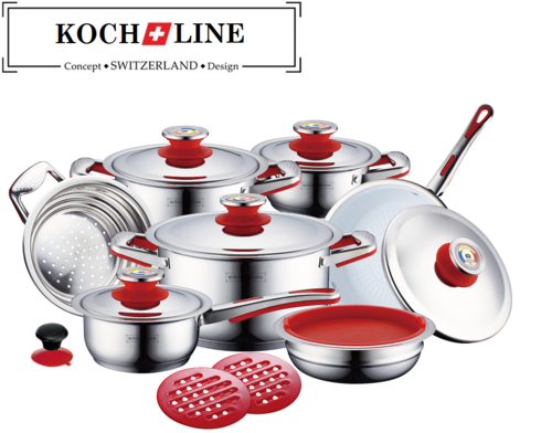 cookware sets 16pcs koch line switzerland 100 authentic cook with ceramic coating fry. Black Bedroom Furniture Sets. Home Design Ideas