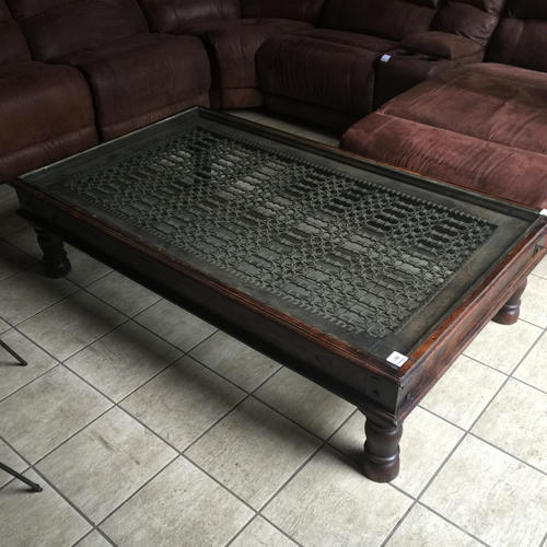Tables Large Antique Temple Door Coffee Table Solid Wood Glass Top Wrought Iron Inlay 1900