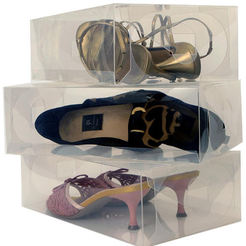 Ladies clear shoe storage boxes pack of 6