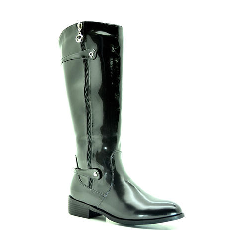 shoes bronx knee high patent boots in black was