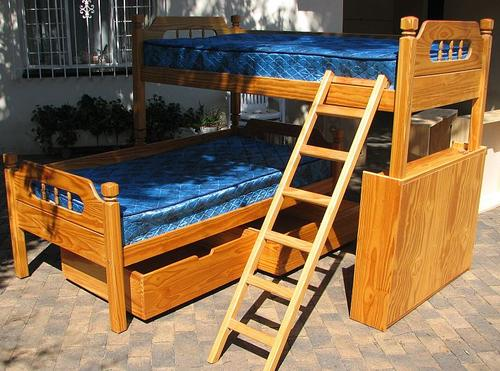 Beds bunk beds pine incl bookcase 2 x storage for Second hand bunk beds