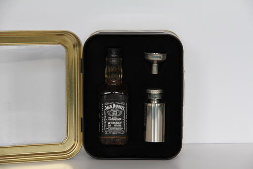 bar accessories jack daniels tin 50ml bottle 1oz stainless steel flask and funnel was sold. Black Bedroom Furniture Sets. Home Design Ideas