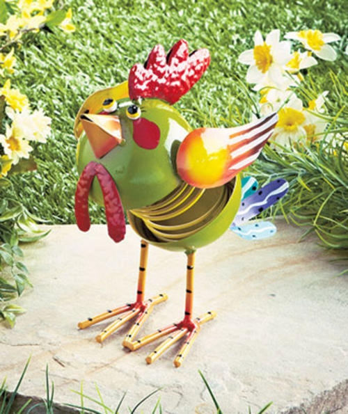 Statues yard art bouncing garden animal rooster was for Decor n more
