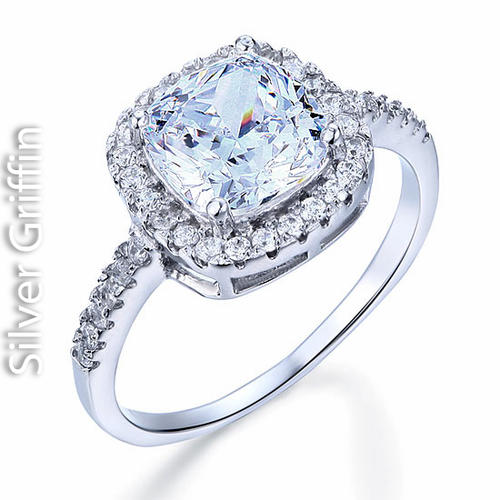 Silver 3 Carat Cushion Cut Cr Diamond Solid 925 Sterling Silver Wedding Eng