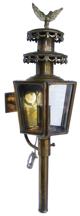 Wall Mount Lamp Bracket : Vintage Electric Brass Eagle Carriage Lantern wall mount light with bracket