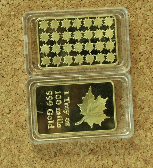 Bullion Bars Maple Leaf Gold Bar One Troy Oz 100 Mills