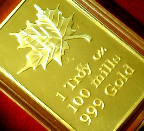 Bullion Bars Maple Leaf Gold Bar One Troy Oz 100 Mills