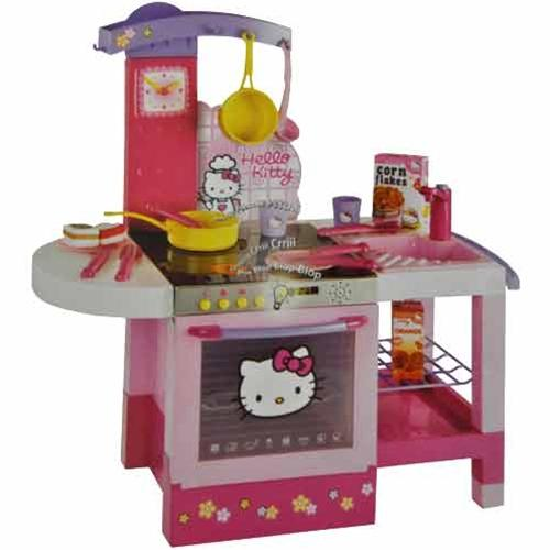 Kitchen housework last hello kitty free standing for Little girl kitchen playset